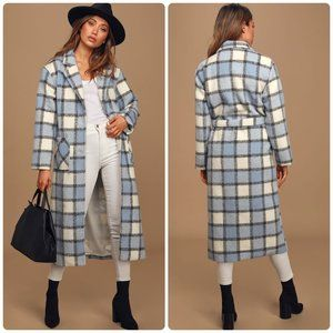 NWT Lulus Warm Front Light Blue Plaid Coat